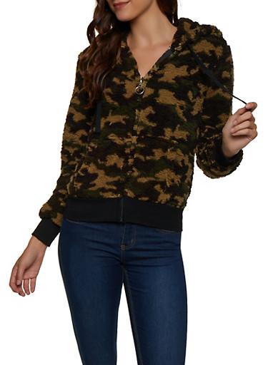 Camo Sherpa Zip Sweatshirt,GREEN,large
