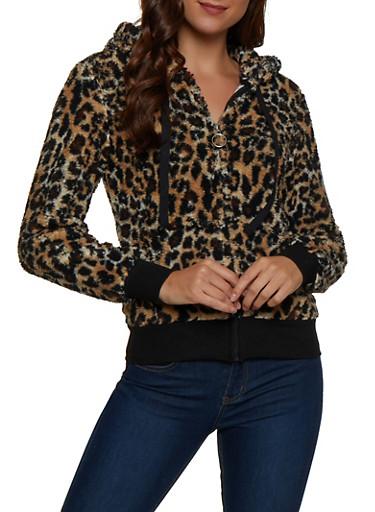Leopard Print Sherpa Sweatshirt,BROWN,large
