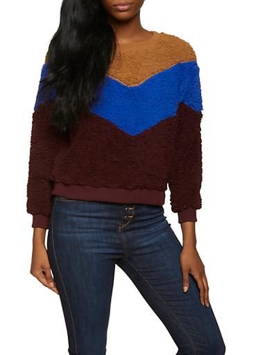 Sherpa Color Block Sweatshirt,CAMEL,large