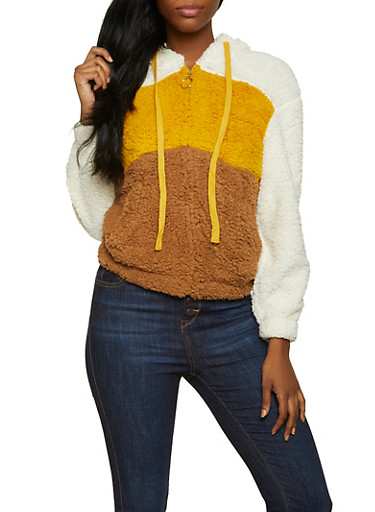Sherpa Color Block Hooded Sweatshirt,IVORY,large