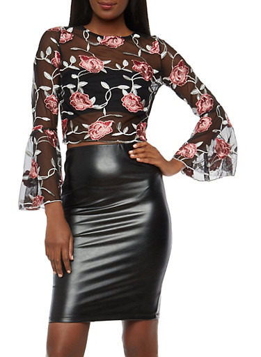 Floral Embroidered Mesh Bell Sleeve Top,BLACK,large