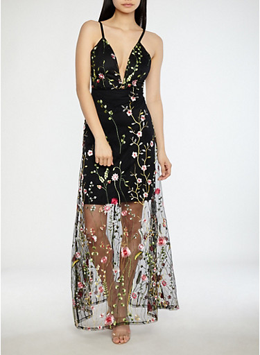 Embroidered Mesh Maxi Dress,BLACK,large