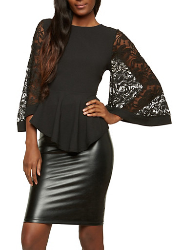 Lace Bell Sleeve Peplum Top,BLACK,large