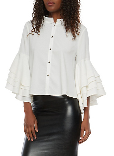 Tiered Sleeve Button Front Top,WHITE,large