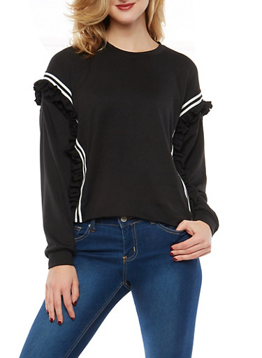Ruffled Varsity Stripe Sweatshirt,BLACK,large