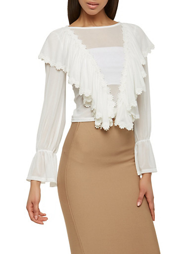 Ruffled Mesh Top with Crochet Detail,WHITE,large