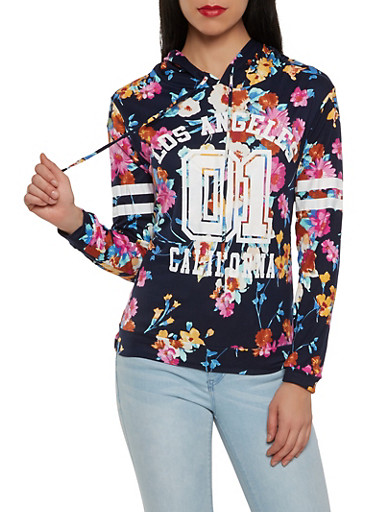 Floral Graphic Soft Knit Hooded Top,NAVY,large