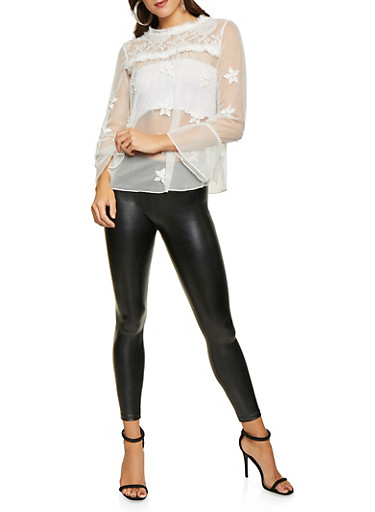 Lace Yoke Embroidered Mesh Top,WHITE,large