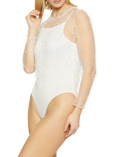 Faux Pearl Mesh Bodysuit,IVORY,large