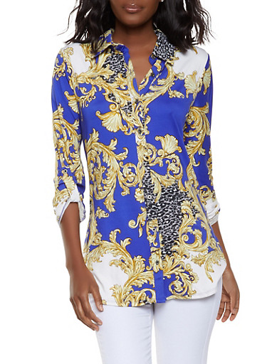 Printed Button Front Shirt,RYL BLUE,large