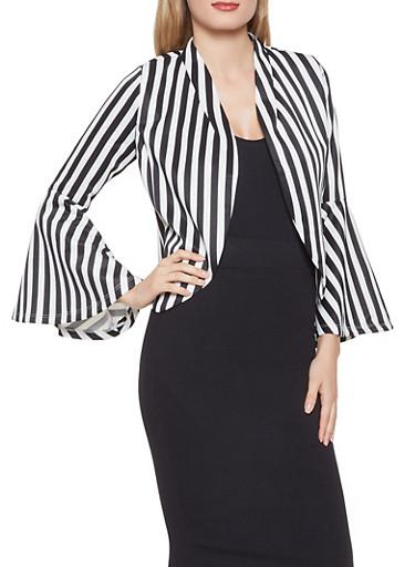 Striped Bell Sleeve Blazer,BLACK/WHITE,large