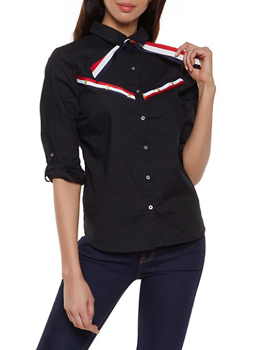 Striped Ribbon Trim Poplin Shirt,BLACK,large