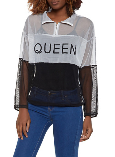 Color Block Queen Fishnet Pullover Top,GRAY,large