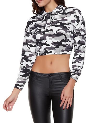 Camo Cropped Sweatshirt,BLACK/WHITE,large