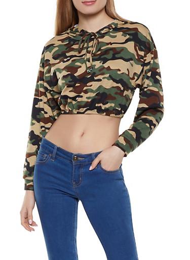 Camo Cropped Sweatshirt,OLIVE,large