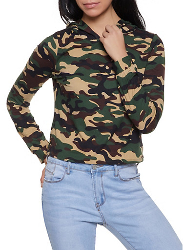 Striped Tape Trim Hooded Camo Tee,OLIVE,large
