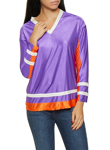 Color Block Long Sleeve Top,PURPLE,large