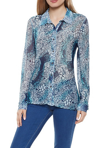Printed Mesh Button Front Shirt,MULTI COLOR,large
