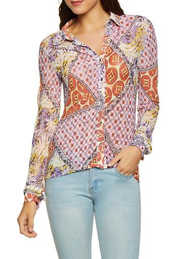 Geometric Print Mesh Shirt,MULTI COLOR,large