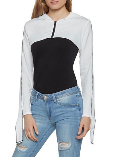 Zip Up Hooded Crop Top,WHT-BLK,large