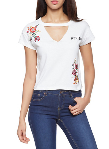 Perfect Graphic Embroidered Tee,WHITE,large