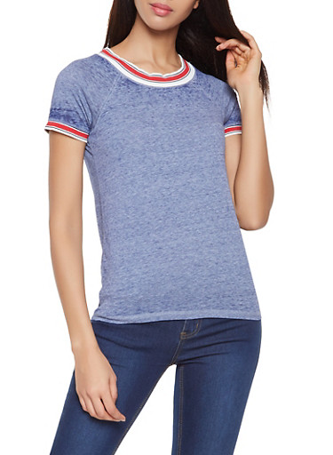 Striped Trim Burnout Tee,NAVY,large