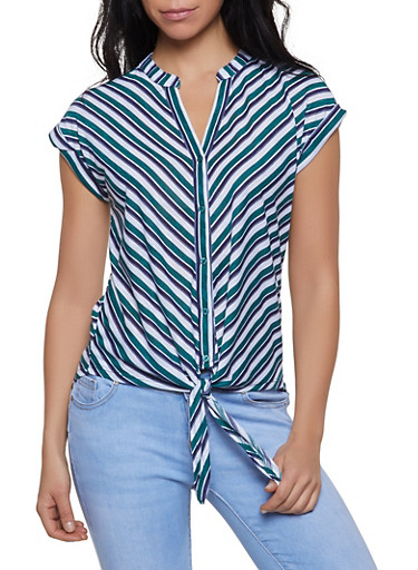 Striped Button Tie Front Shirt,GREEN,large