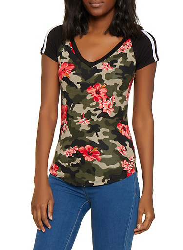 Caged Back Floral Camo Tee,OLIVE,large