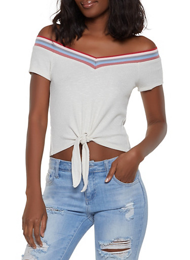 Striped Trim Off the Shoulder Top | 1305015990715,OATMEAL,large