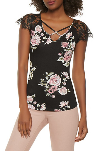 Lace Sleeve Floral Top,BLACK,large