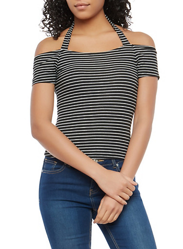 Striped Off the Shoulder Halter Neck Top,BLACK/IVORY,large