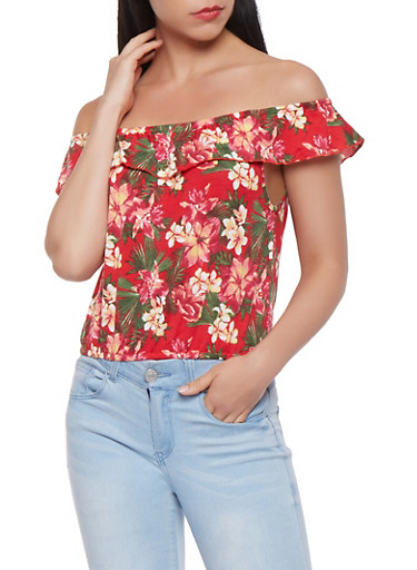 Ruffled Off the Shoulder Floral Top,RED,large