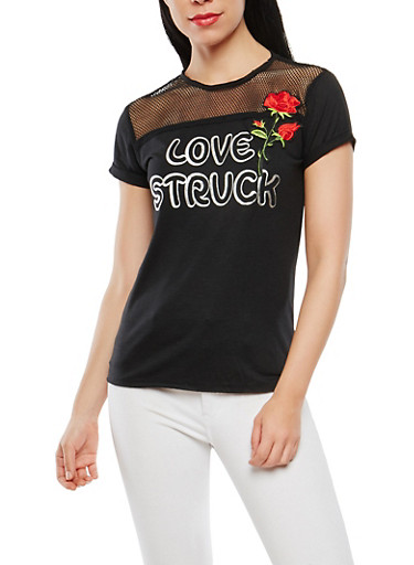 Rose Applique Fishnet Yoke Tee,BLACK,large
