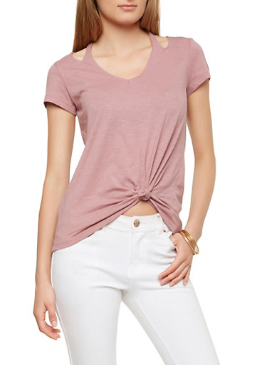 Halter Neck Knot Front Top,RASPBERRY,large