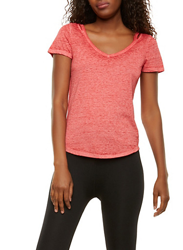 Solid Cut Out Tee,RED,large