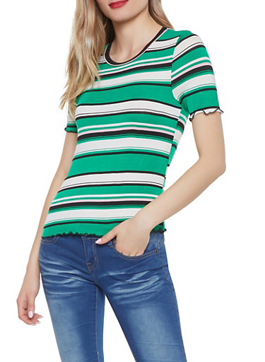 Lettuce Edge Striped Tee,GREEN,large