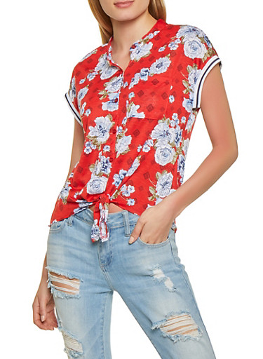 Floral Cap Sleeve Button Front Top,RED,large