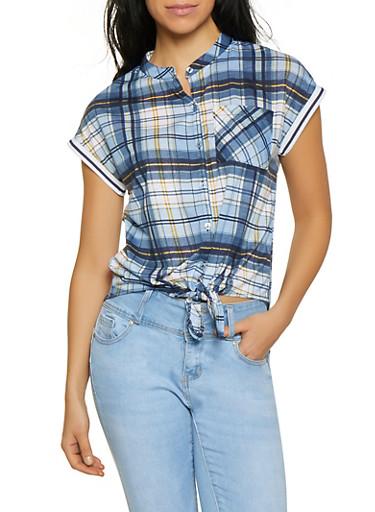 Plaid Tie Button Front Shirt,NAVY,large
