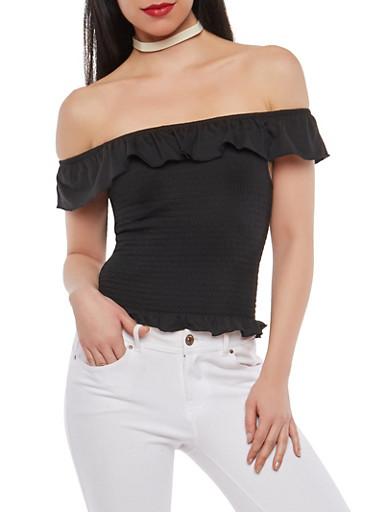 Off the Shoulder Smocked Top,BLACK,large