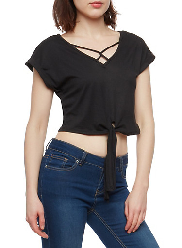 Tie Front Loop Caged Neck Top,BLACK,large