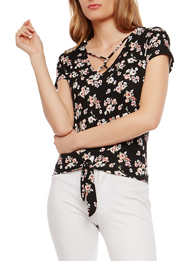 Soft Knit Floral Tie Front Top,BLACK,large
