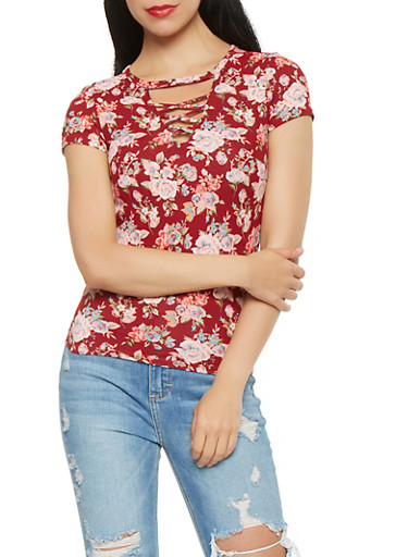 Floral Caged Neck Tee,WINE,large