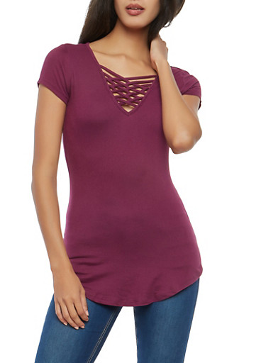 Soft Knit Caged Neck T Shirt,PLUM,large