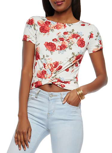 Floral Twist Front Crop Top,IVORY,large