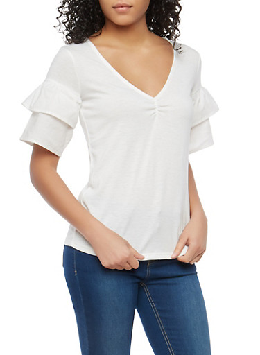 Tiered Sleeve V Neck Top,BLEACH WHITE,large