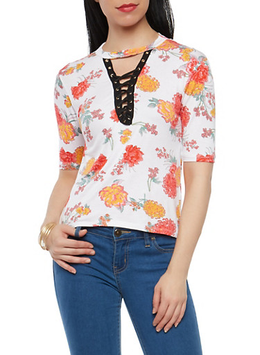 Floral Lace Up Keyhole Neck Top,IVORY,large