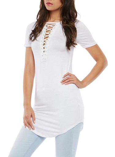 Caged Neck Tunic Top,WHITE,large