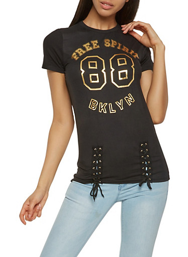 Graphic Lace Up Tee,BLACK,large