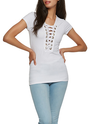 Soft Knit Lace Up Tee,WHITE,large