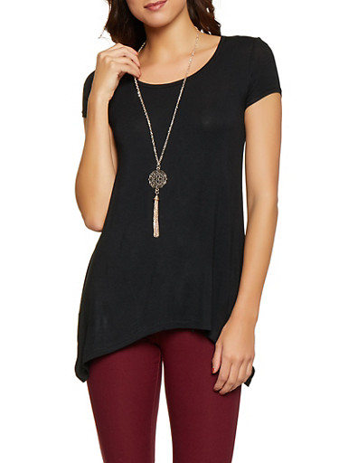 Solid Sharkbite Tee with Necklace,BLACK,large
